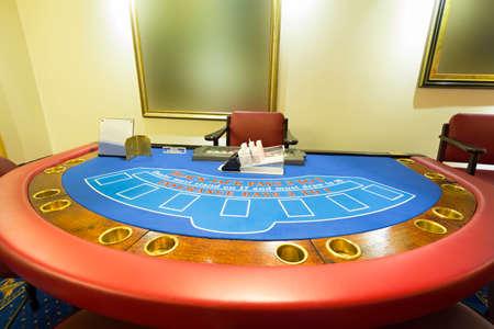 blackjack: Blackjack table at the casino