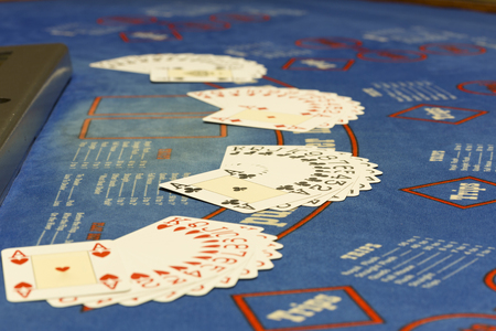 em: Closeup of Texas Hold em Poker Table at Casino Stock Photo