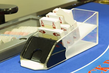 blackjack: Card box on blackjack table at casino