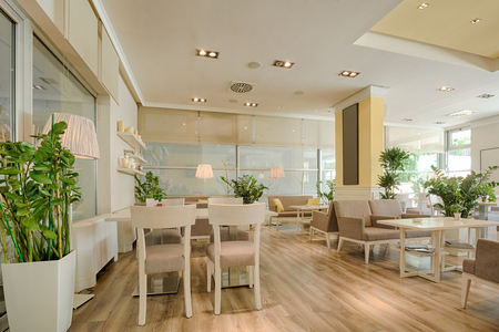 wooden furniture: Interior of a beautiful bright cafe