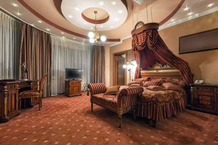 luxury hotel room: Luxury classic style bedroom interior