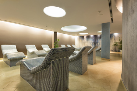 heated: Heated lounge chairs at spa center