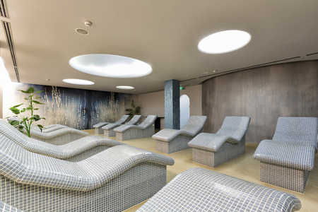 lounge chairs: Heated lounge chairs at spa center