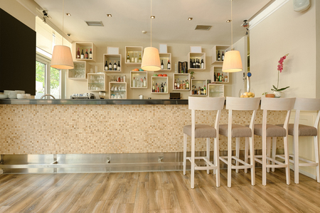 Bar counter in modern cafe