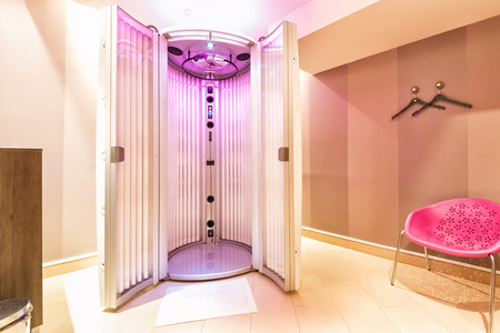 Tanning booth in a beauty salon