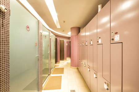 gym room: Locker and shower room in spa center Stock Photo