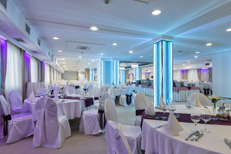 banquet table: Elegant banquet hall interior