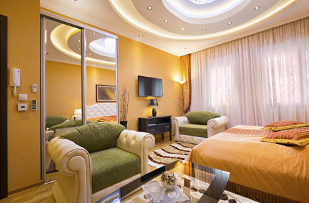 spacious: Spacious hotel room interior Stock Photo