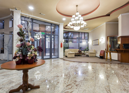 hotel: Modern hotel lobby Stock Photo