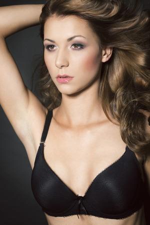 black bra: Beautiful woman in black bra