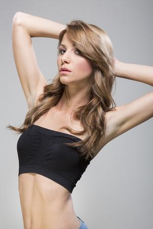 tube top: Young beautiful woman in tube top