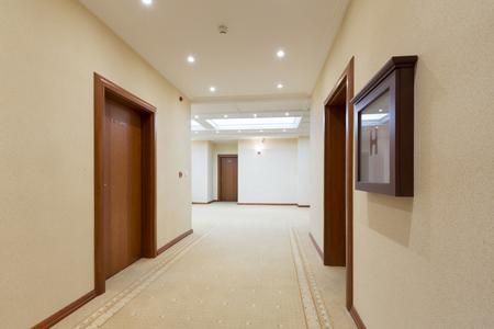 hotel room door: Corridor interior Stock Photo