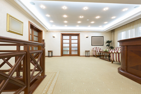 wood ceiling: Corridor with stairs - hotel interior Stock Photo