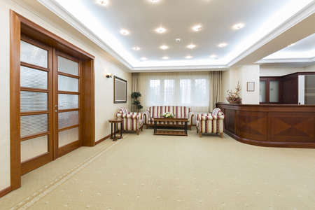 Hotel lobby with reception desk