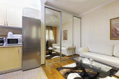 refrigerator kitchen: Modern apartment interior with kitchen