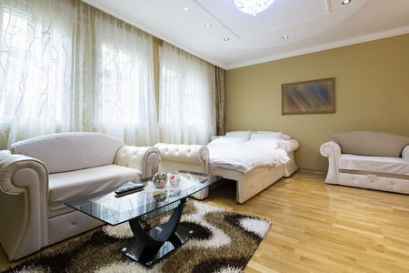 spacious: Interior of a spacious hotel apartment Stock Photo