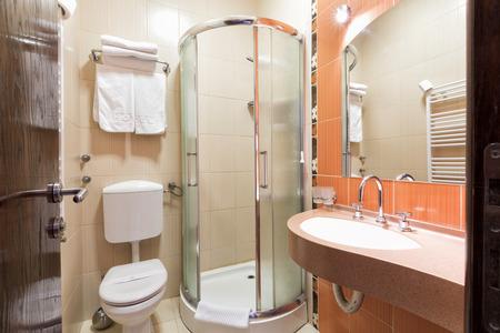 hotel bathroom: Elegant hotel bathroom interior Stock Photo