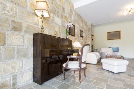 upright piano: Elegant hotel lobby interior