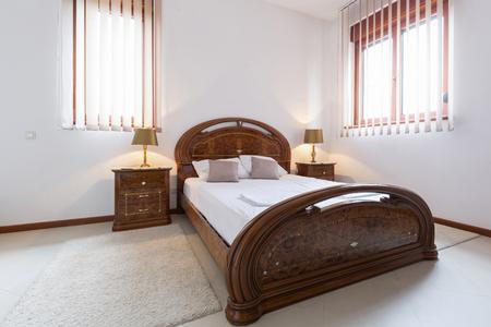 bedroom bed: Interior of an elegant hotel bedroom