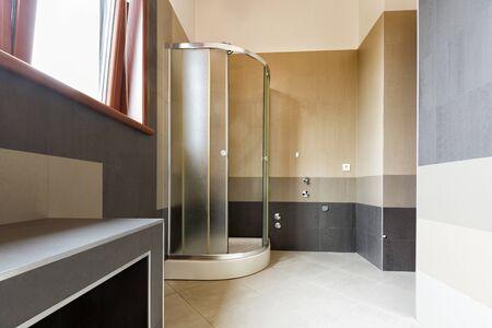 hotel bathroom: Interior of a modern bathroom