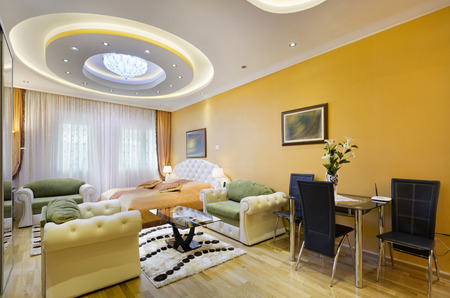 Spacious hotel room interior Stock Photo