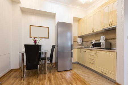 refrigerator kitchen: Kitchen and dining table in a modern apartment