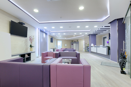 hospital interior: Spacious waiting room in a modern clinic