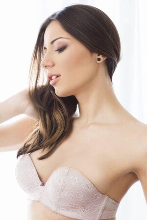 bra model: Portrait of a beautiful woman in bra