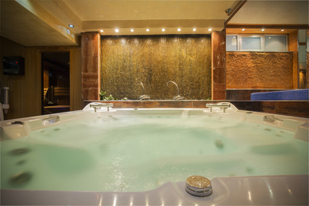 hydromassage: Jacuzzi in a spa center Stock Photo