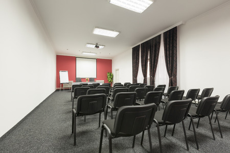 mocked: Business meeting, seminar room, conference room, interior Stock Photo