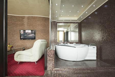 suite: Jacuzzi in a luxury hotel suite Stock Photo