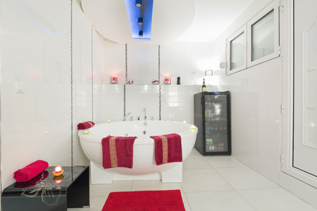 jacuzzi: Interior of a luxury white bathroom with jacuzzi bath