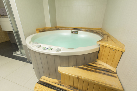 luxuriously: Jacuzzi bath in spa wellness center Stock Photo