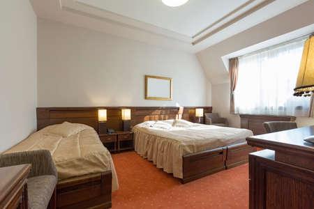 interior bedroom: Interior of a hotel bedroom in the morning sunlight