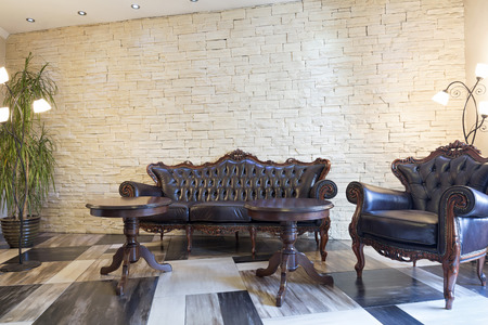 leather furniture: Interior of a hotel lobby with luxury leather furniture Stock Photo