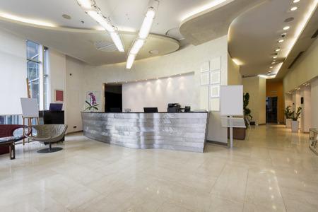 Reception area with reception desk