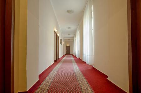hotel building: Corridor in a hotel building Stock Photo