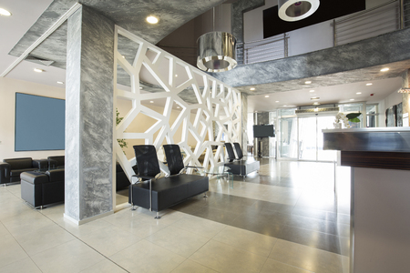 Modern luxury hotel lobby interior