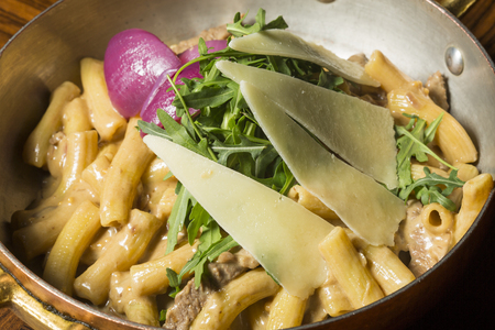 red onion: Beef and red onion macaroni