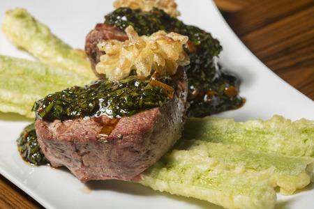 chive: Beef fillets with chive tapenade and tempura