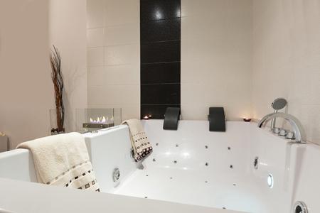 jacuzzi: Luxury bathroom with jacuzzi bath Stock Photo