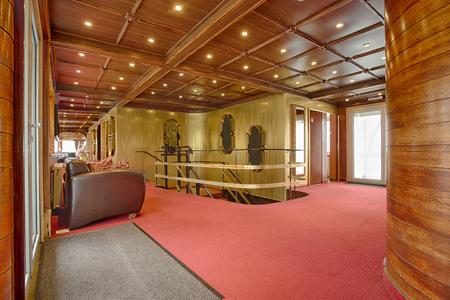 wooden floor: Interior of a boat hotel