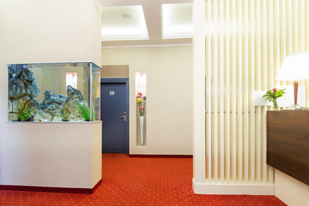 aquarium visit: Hotel interior - reception area Stock Photo