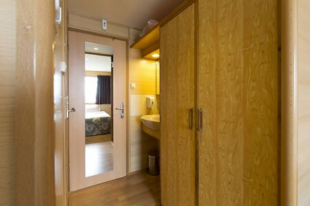 stateroom: Interior of a cabin on cruise boat