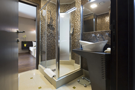 Bathroom with shower cabin Banco de Imagens - 59701359