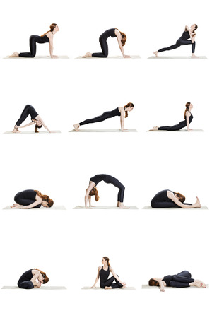 sequence: Morning yoga sequence of 12 poses Stock Photo