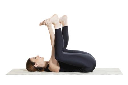Gelukkige Baby Yoga Pose - Ananada Balasana Stockfoto - 59775670