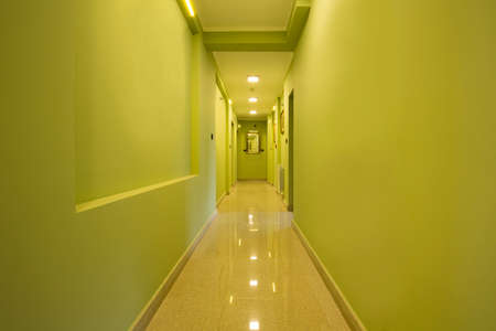 green walls: Corridor with green walls