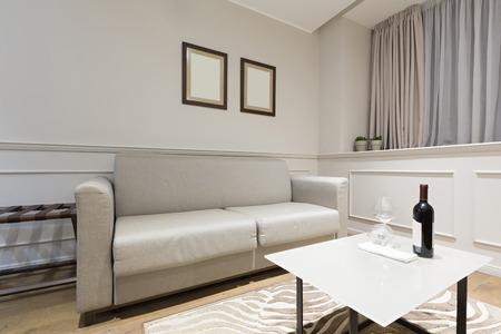 modern living: Modern living room interior in the evening