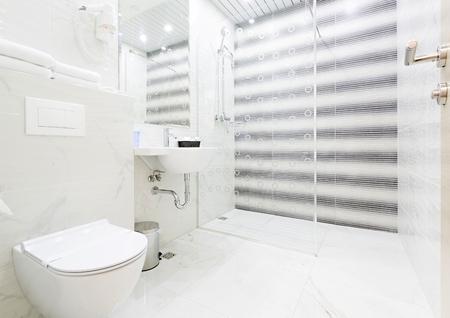 hotel bathroom: Interior of a hotel bathroom